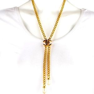 CHANEL 97A Gold Chain Turnlock CC Lariat Necklace